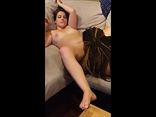 Ebony MILF eating a tasty young white pussy