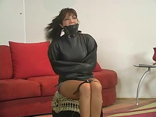 Akira Lane got straightjacketed and leather gagged OTM by Gina Rae Michael