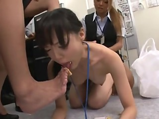 Asian Delivery Girl gets humiliated by the Superior Office Girls