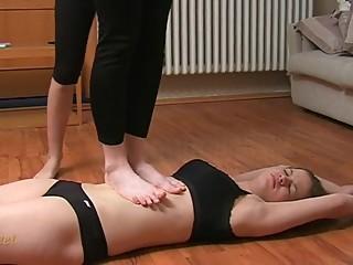 Sensual Lesbian Belly Trample