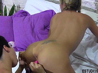 Teen and Milf Lesbian cum together