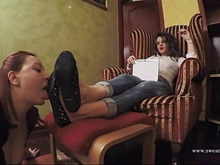Lesbian Slavegirl Licks Dirty Shoes and Bare Feet
