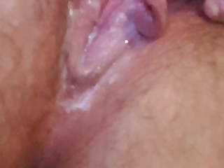 (1/3vids) playing with my wet creamy pussy, and i havent even cum yet (