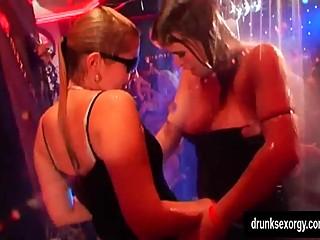 Wet lesbian pornstars dancing
