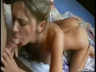 Two horny busty lesbian play with toy at home