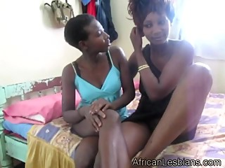 Super hot black lesbians enjoying each other in Africa