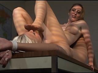 Lesbian bondage nylon feet worship