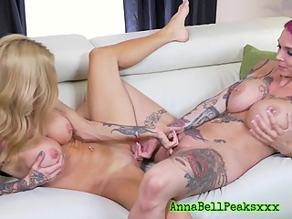 Curious Wife Hires Big Titted Tattoed Pornstar And Fucks Her Before Husband