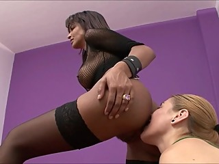 LESBIAN PUSSY AND ASSHOLE LICKED BY DIFFERENT SLAVES.