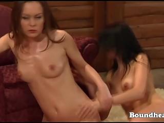 Beautiful lesbian slaves sold at down