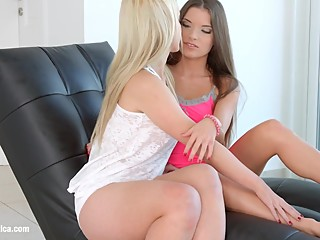 Hot lesbians Anita B and Nina Trevino have sex on Sapphic