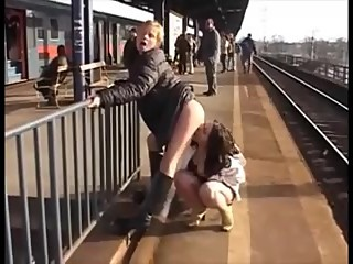 Two Girls at The Station