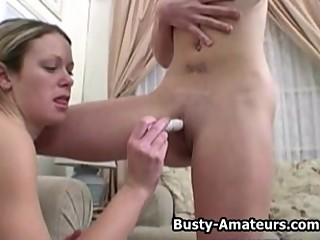 Busty Lesbians Sunny and Holly on hot foreplay