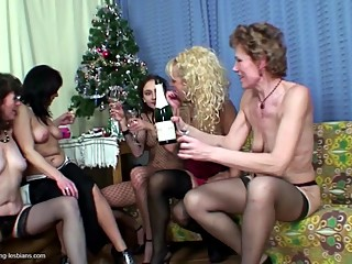 Big lesbian group sex on Christmass with mature moms