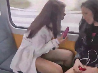 2 Girls Playing With Themselves On Public Train
