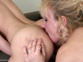 Old and young hot lesbian couple