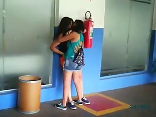 Brazilian lesbian girls public kissing