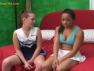 Young lesbians playing with dildo
