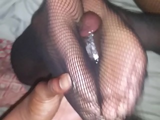 Fishnet foot fucking!