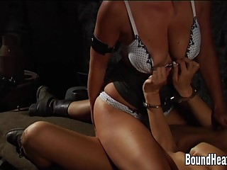 Handcuffed Slave Gets Her Pussy Licked By Mistress