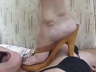 Sexy Lesbian Trample with Wooden Heels and Bare Feet
